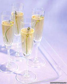 Lavender Champagne Ingredients include sugar, dried lavender, Champagne and fresh lavender sprigs.