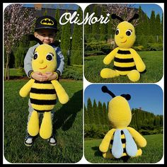 This is PATTERN in pdf file only, no final product. To jest WZÓR w formie pliku pdf, nie gotowy produkt. To make the bee you need: - Himalaya Dolphin Baby (100g/120m, 100% poliester) ca. 300m yellow (2,5 skein), ca. 100m black (almost 1 skein), ca. 60m light blue or white (half skein)