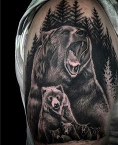 Man With Bear Cub Tattoos