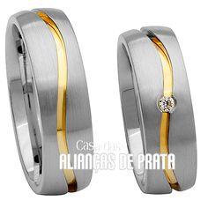 Alianças de compromisso em prata   Com filete com banho de ouro amarelo 18k  750 f6b591c630