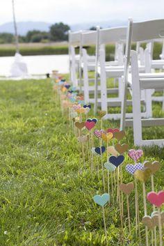 DIY heart aisle decor for an outdoor wedding