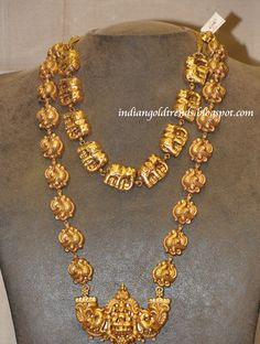Beautiful elephant theme Nakshi Jewellery with elephant clasps nakshi gold necklace,designer elephant clasps long nakshi haram with nakshi...