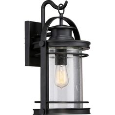 "Quoizel BKR8410 Booker 1 Light 19"" Tall Outdoor Wall Sconce with Clear Seedy Gla Mystic Black Outdoor Lighting Wall Sconces Outdoor Wall Sconces"
