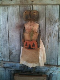 Primitive Black Folk Art Pumpkin Doll with her Jack O lantern burlap grungy prim #NaivePrimitive