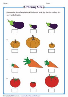 This is the Seriation activity. Children will order the different vegetables by placing a number under each picture.From 1-3, 1 being the smallest, and 3 the biggest. This is DAP because the children will be able to recognizing sizing.(age appropriate)
