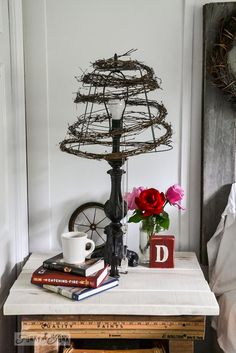"""""""DIY ~Twig & Wire Cage Lamp Shade"""" :: (Similar to a pearl strings one I did :: I have no problem w/a bare lamp bulb, just use a smaller wattage, to avoiding """"blinding"""" anyone, or extra heat* on the twigs! Also, maybe they should have mentioned that caution should be used when burning any bulb near dry materials!?k)"""