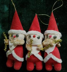 Vintage Chenille Ornaments Santa Claus