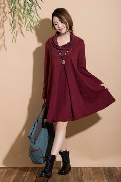 Dark red cotton long-sleeved pullover sweater dress type A word / casual jacket winter Dress