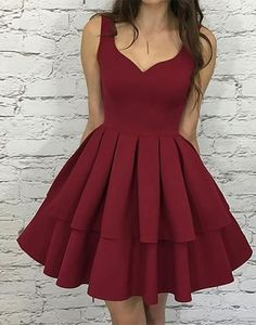 Simple burgundy v neck short prom dress,homecoming dress,HS062 #fashion#promdress#eveningdress#promgowns#cocktaildress