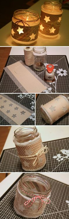 Easy DIY rustic and vintage manson jar candle light holders for fall wedding ideas
