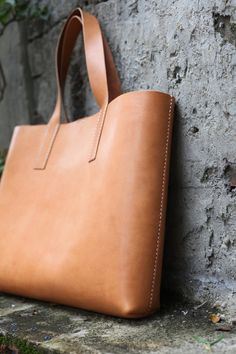 Handmade Leather Tote Bag made to order by LoraynLeather on Etsy