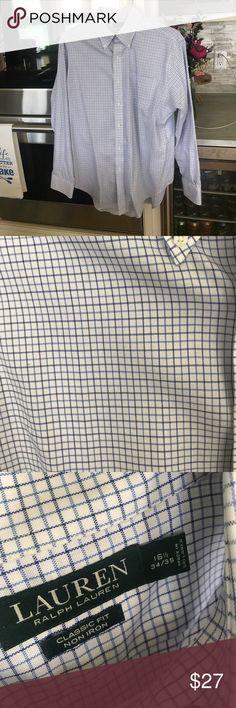 Men's Ralph Lauren dress shirt Worn once- perfect condition men's Ralph Lauren dress shirt. Has pocket. 16 1/2 34/35. 100% cotton. Navy and light blue checkered. Make an offer or bundle to save! Ralph Lauren Shirts Dress Shirts
