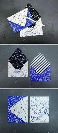 Snazz up your correspondence with some splashy screen-printed envelopes from Etsy seller Karolin Schnoor. Web Design, Design Art, Print Design, Design Patterns, Logo Design, Identity Design, Brand Identity, Logo Inspiration, Dm Poster