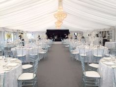 All white with touch of blue set up Marquee,glass chairs,lace linens,crystal chandeliers Ireland Wedding, Irish Wedding, Golf Wedding, Wedding Venues, Marquee Wedding Inspiration, Glass Chair, Lace Tablecloths, Crystal Chandeliers, Plan Your Wedding