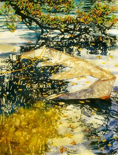 "boat full of rain 30"" x 22""  riddell bay bda  micheal zarowsky / watercolour on arches paper / (private collection)"