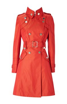 Karen Millen Military Style Single Breasted Trench Coat Red