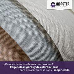 Telas ligeras y colores claros. #monsterblinds #decoracion #estilo #casa #hogar #persianas #blinds #design #interiordesign #remodela #colores #formas #texturas