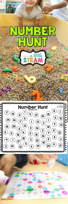 Preschool or kindergarten math game and sensory bin. Learn number recognition, fine motor and team work! Preschool or kindergarten math game and sensory bin. Learn number recognition, fine motor and team work! Kindergarten Math Games, Preschool Learning, Math Classroom, Learning Activities, Number Sense Kindergarten, Early Learning, Leadership Activities, Stem Learning, Sensory Bins