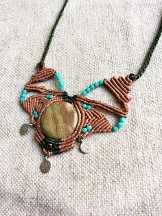 Macrame necklace, gemstone pendant, boho necklace, hippie necklace, boho jewelry, bohemian style, handmade macrame necklace, unique jewelry