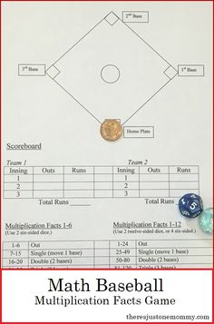When it comes to math fact practice at home, games are a fun alternative to those boring flashcards. This printable math facts game is sure to be popular. Get ready to play Math Baseball! Multiplication Facts Practice, Math Fact Practice, Math Facts, Multiplication Strategies, Math Help, Basketball, Baseball Sayings, Baseball Videos, Games