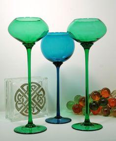 Extreme Modernist Blown Glass Goblets