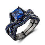 Caperci Black Sterling Silver Princess-Cut Created Blue Sapphire Solitaire Wedding Engagement Ring Set http://jewels411.com EZ