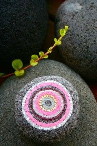 The Pink Bubble! Love this stone I painted May 3rd 2011 for my 365 rock a day project.