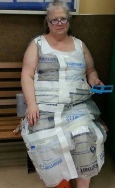This lady is taking Walmart Dressed People to the level of #1... lol...  Walmart Bag Dress...