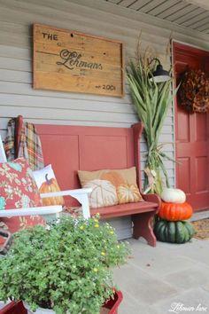 Fall front porch - Farmhouse sign, bench, rockers, cornstlaks, pumpkins and mums