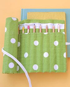 pencil roll-up kit - I've seen these made for crayons too, would be great for taking to church or when traveling.
