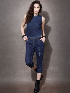 Sisley Blue Solid Sleeveless Cotton Jumpsuit #Sisley, #Blue ...