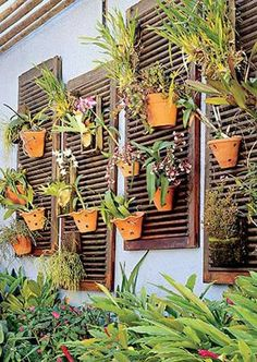 put some old shutters on the barn windows and put potted plants on them. vertical garden by claire Small Backyard Gardens, Vertical Gardens, Indoor Garden, Garden Art, Indoor Plants, Outdoor Gardens, Garden Design, Potted Plants, Potted Garden