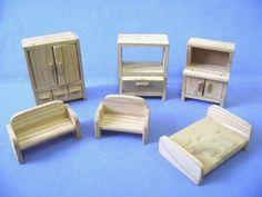 móveis miniatura - casa de boneca - madeira Mais