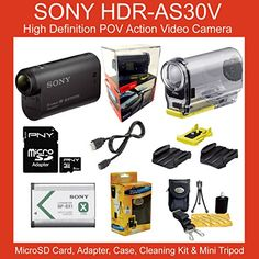 #Sony High Definition POV Action Video Camera HDR-AS30V AS30 HDRAS30 HDRAS30V AS30V Bundle Includes 8GB Micro SD Card and MicroSD Adapter, Carrying Case, Lens Cl...