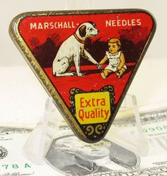 Vintage phonograph needle tin