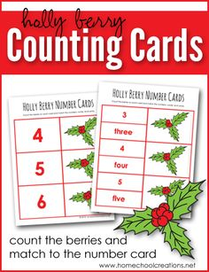 Holly Berry Counting Cards - count the berries and match to the number card. Counting Activities, Christmas Activities, Preschool Activities, Homeschool Curriculum, Homeschooling, Sequencing Cards, Business For Kids, Teaching Tips, Free Printables