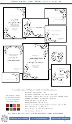 free wedding invitation templates | ... Wedding Invitations Black Elegance | DIY Stationery Templates