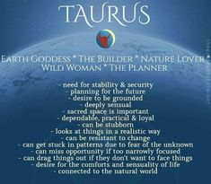 Positive Personality Traits, Ascendant Sign, Taurus Traits, Fear Of The Unknown, Earth Goddess, Astrology Chart, Earth Signs, Birth Chart, Zodiac Facts