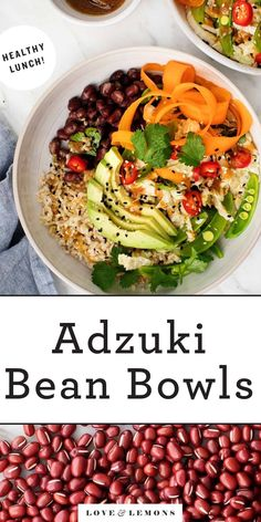 Small, sweet, and nutty adzuki beans are the stars of this bowl recipe. A fresh & crunchy salad, brown rice, and a yummy sesame miso dressing round it out. Vegetarian Dinners, Vegetarian Recipes, Healthy Recipes, Diabetic Recipes, Vegetarian Dish, Detox Recipes, Fruit Recipes, Healthy Foods, Healthy Grains