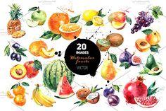 20 Watercolor Fruits Vector by Elena Pimonova on @creativemarket