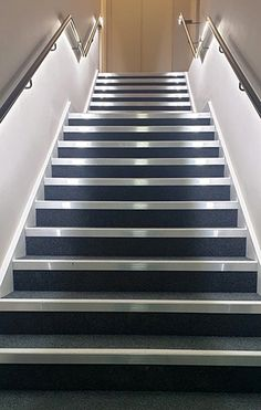 A straight flight of stairs with quarter landing. Manufactured from softwood for public use. Bespoke Staircases, Wooden Staircases, Curved Staircase, Staircase Design, Glass Stairs, Metal Stairs, Wooden Stairs, Stair Builder