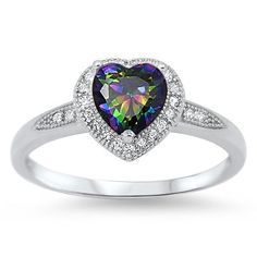 """Sterling Silver Heart Shaped Ring with Clear CZ Stones. RC104778-T Face Height: 8 mm (0.35 inch) Stone: Rainbow Topaz CZ Metal Material: Sterling Silver    Paypal or google wallet only U.S. FREE SHIPPING ONLY <div data-embed_type=""""product"""" data-shop=""""keltastic.myshopify.com"""" data-product_name="""".925 Shambella Clear Crystal Earrings"""" data-product_handle=""""925-shambella-clear-crystal-earrings"""" data-has_image=""""true"""" data-display_size=""""compact"""" data-redirect_to=""""checkout"""" data-buy_button_text=""""Buy…"""