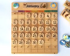 Home Calendar -- Wooden Perpetual Calendar -- Weather Chart -- Waldorf Montessori Calendar -- Heirloom Handmade Homeschool Waldorf Montessori, Montessori Toys, Montessori Homeschool, Create A Calendar, Calendar Time, 3d Laser Printer, Classroom Calendar, Perpetual Calendar, Wood Toys