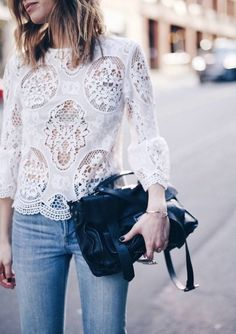 White lace blouse with jeans and a bag Look Fashion, Fashion Outfits, Womens Fashion, Fashion Tips, Fashion Weeks, Paris Fashion, Fashion Quiz, Fashion Mask, Fashion Websites