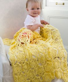 Crochet a bit of sunshine for your little tyke with the Stunning Sunshine Baby Blanket! Using bright yellow yarn, this crochet baby blanket pattern creates a lacy sun motif that will brighten up any nursery.
