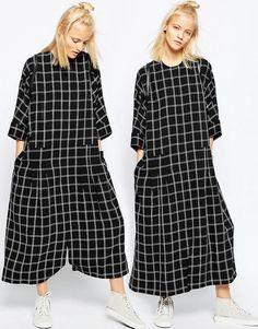 Image 1 ofASOS WHITE Grid Oversized Jumpsuit Dress