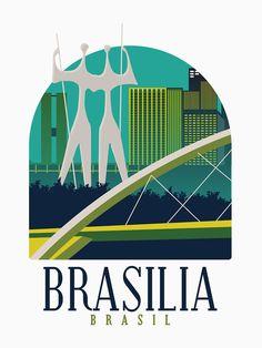 Brasil Travel, Cityscape Art, Art Vintage, Maputo, Vintage Travel Posters, Order Prints, Tshirt Colors, Classic T Shirts, Skyline