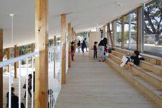 Image 4 of 14 from gallery of Hakusui Nursery School / Yamazaki Kentaro Design Workshop. Courtesy of Yamazaki Kentaro Design Workshop Timber Architecture, Contemporary Architecture, Workshop Architecture, Landscape Architecture, Japan Design, House Slide, Ecole Design, Kindergarten Design, Japanese Architecture
