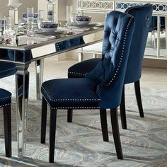 32 Inspiring Dining Chairs For Your Beautiful Dining Room - After buying the best-suited dining table, you are just half way done to complete a phenomenal centerpiece of your dining room furniture. No, of cours. Blue Velvet Dining Chairs, Blue Dining Room Chairs, Dining Room Walls, Dining Room Design, Living Room, Office Chairs, Blue Chairs, Dining Room Sets, Kitchen Chairs