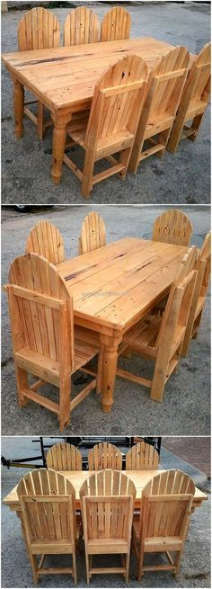 recycled wood pallet dining set
